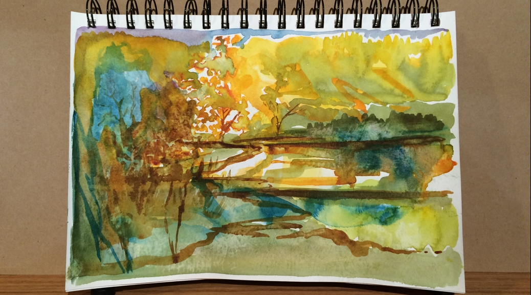 Journal page with colors and shapes from the autumn landscape.