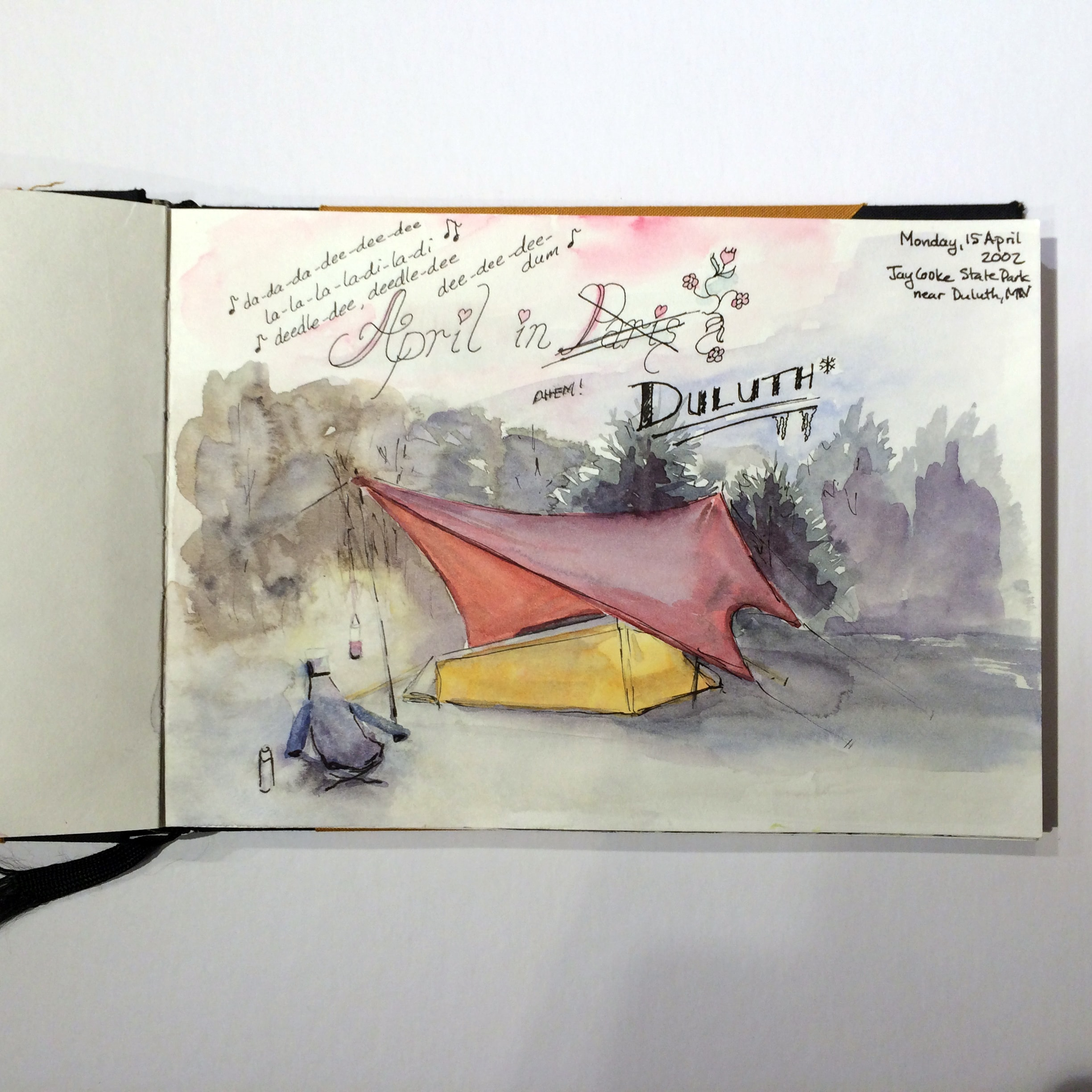 sketch of tent on rainy cold day