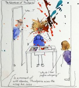 """Cartoon painter with paint """"explosion""""."""