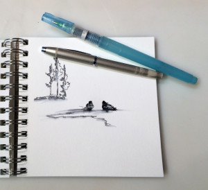 A small sketchbook, my favorite Cross fountain pen and a waterbrush are all I need.