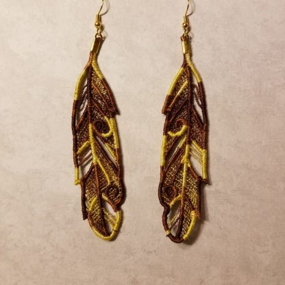 Feather Earrings in Lion Variegated
