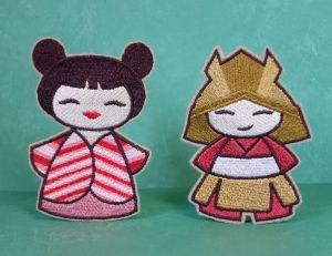 Geisha and Samurai Papaya Hair Clip Set