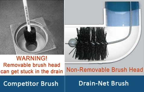 drain brush with splash guard cleans 3 4 inch drains