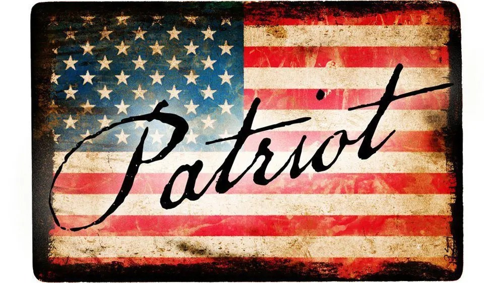 blog picture of American flag with the word patriot written on top