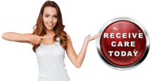 personal injury young woman pointing to red button that says receive care today