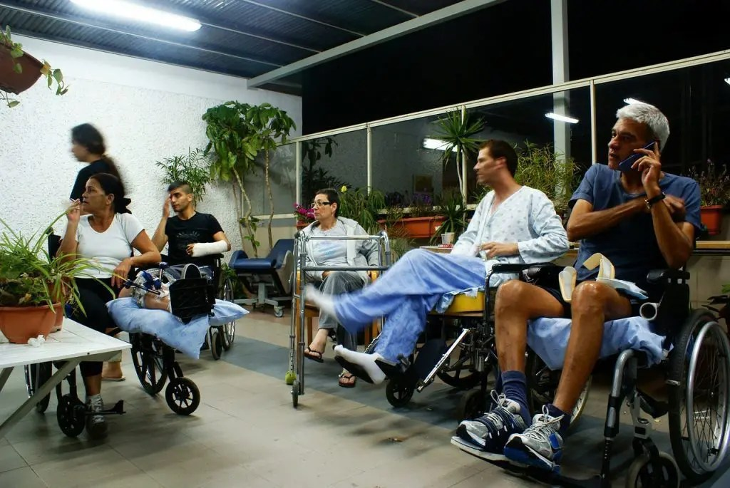 lawsuit people in wheelchairs with injuries in a hospital
