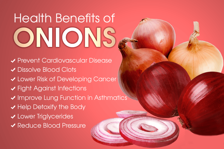 blog picture of red onions and their health benefits listed