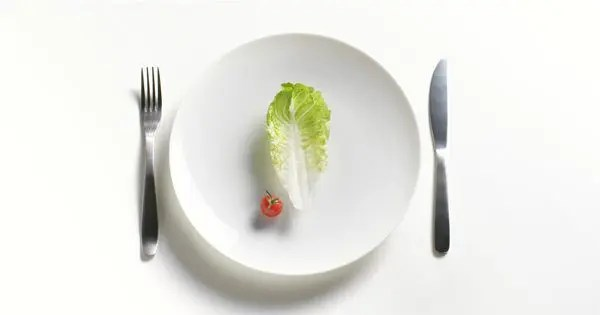 blog picture of plate, fork, knife, piece of lettuce and baby tomato
