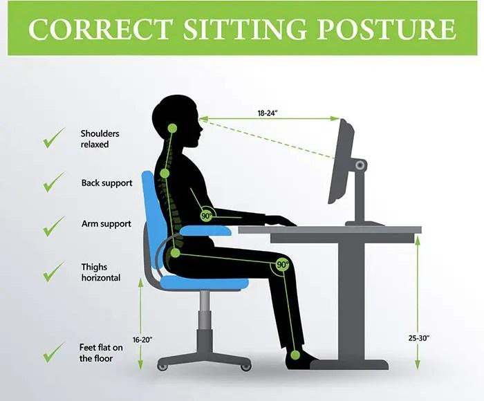 ergonomia corretta posizione seduta