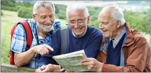 chronic back pain Elderly men hiking