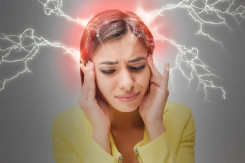 Image of a woman with a migraine demonstrated by lightning coming out of her head.