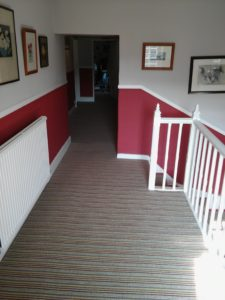 Customised Red Striped Carpet Staircase And Landing Drapers Carpets
