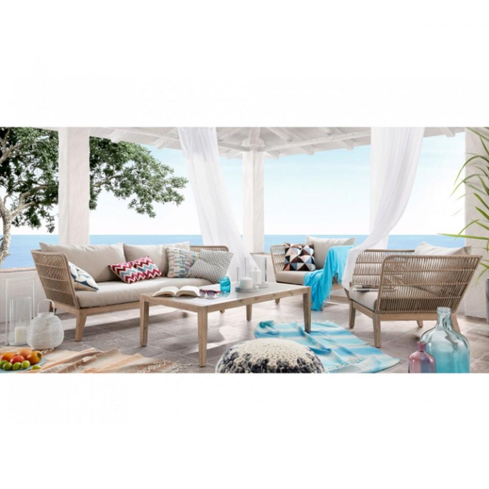canape indoor outdoor 3 places en bois et corde belleny