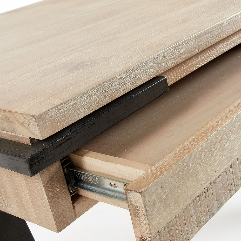 Bureau Design Bois Et Mtal 125x60 2 Tiroirs Spike By Drawer