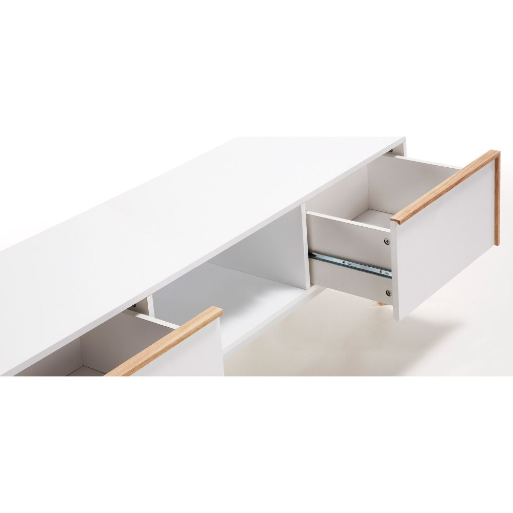 meuble tv design bois laque blanc 2 tiroirs kave home hector