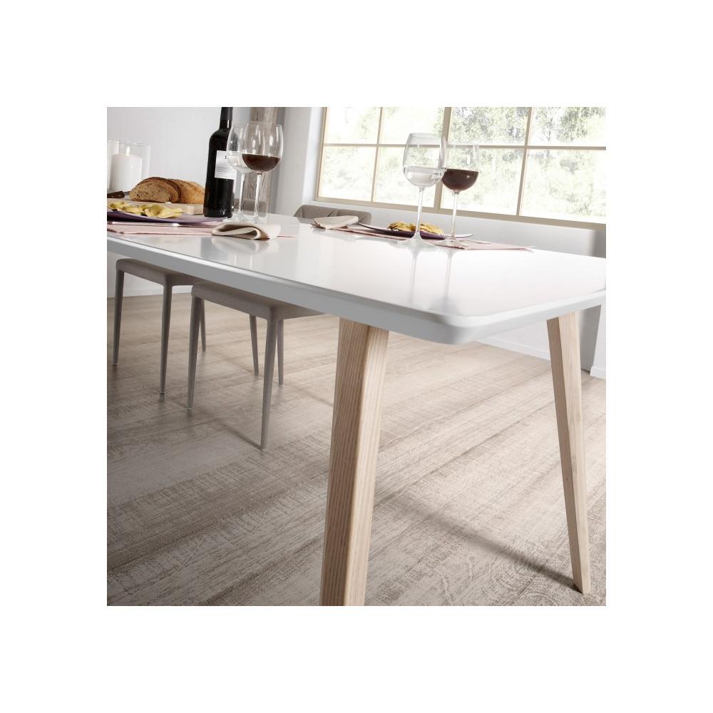 table design scandinave extensible bois blanc laque mat kave home joshua