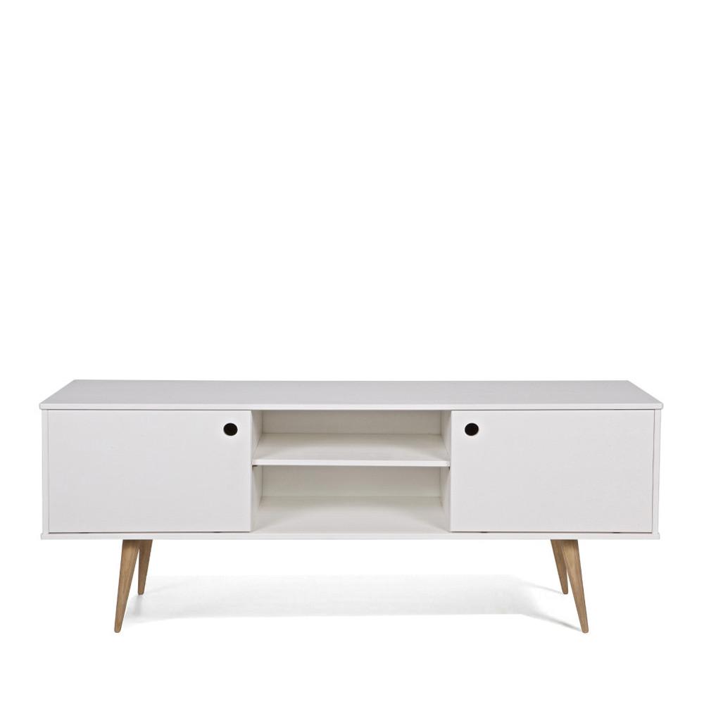 meuble tv blanc et bois woood retro
