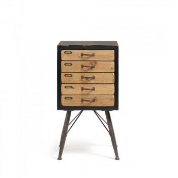 refe chiffonier vintage bois et metal 5 tiroirs