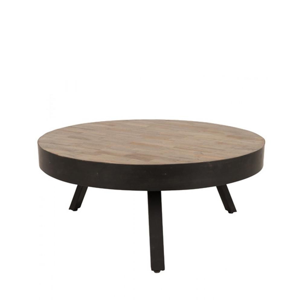 table basse ronde o74 cm en teck recycle large suri