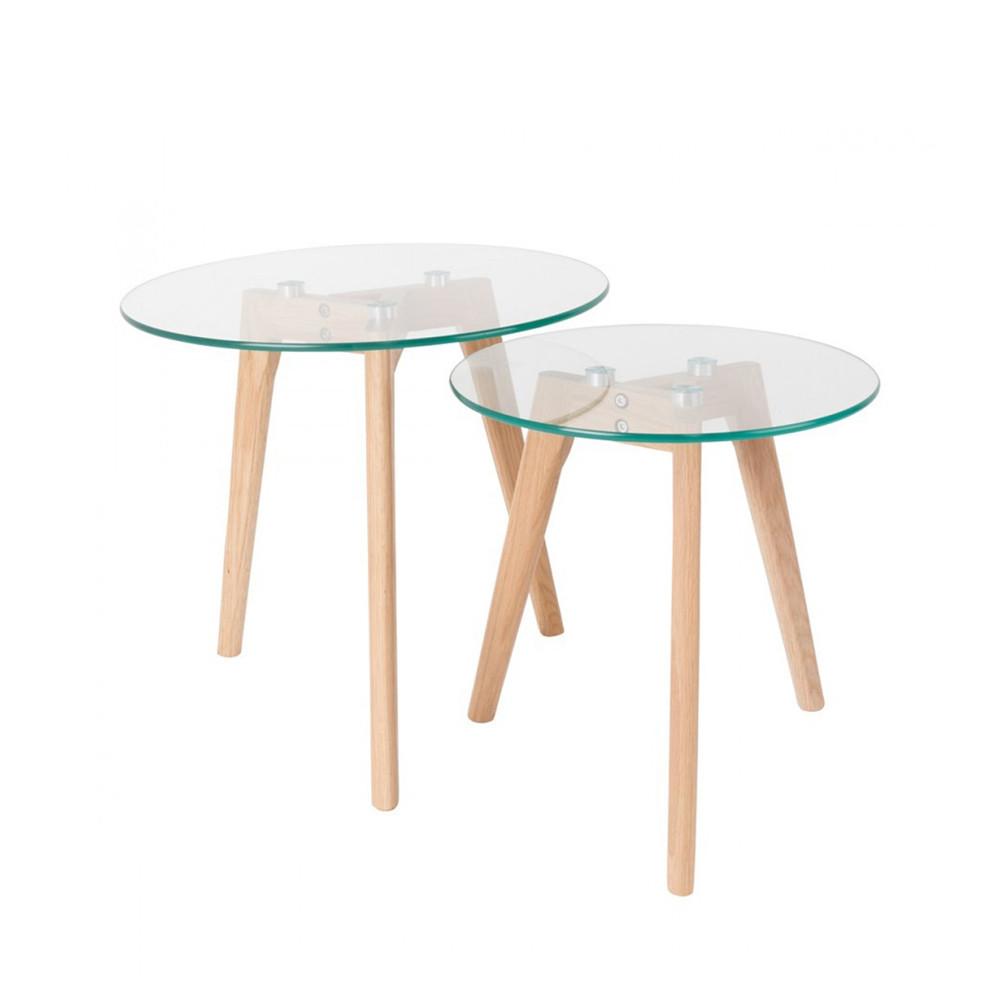 2 tables basses scandinaves verre et chene bror