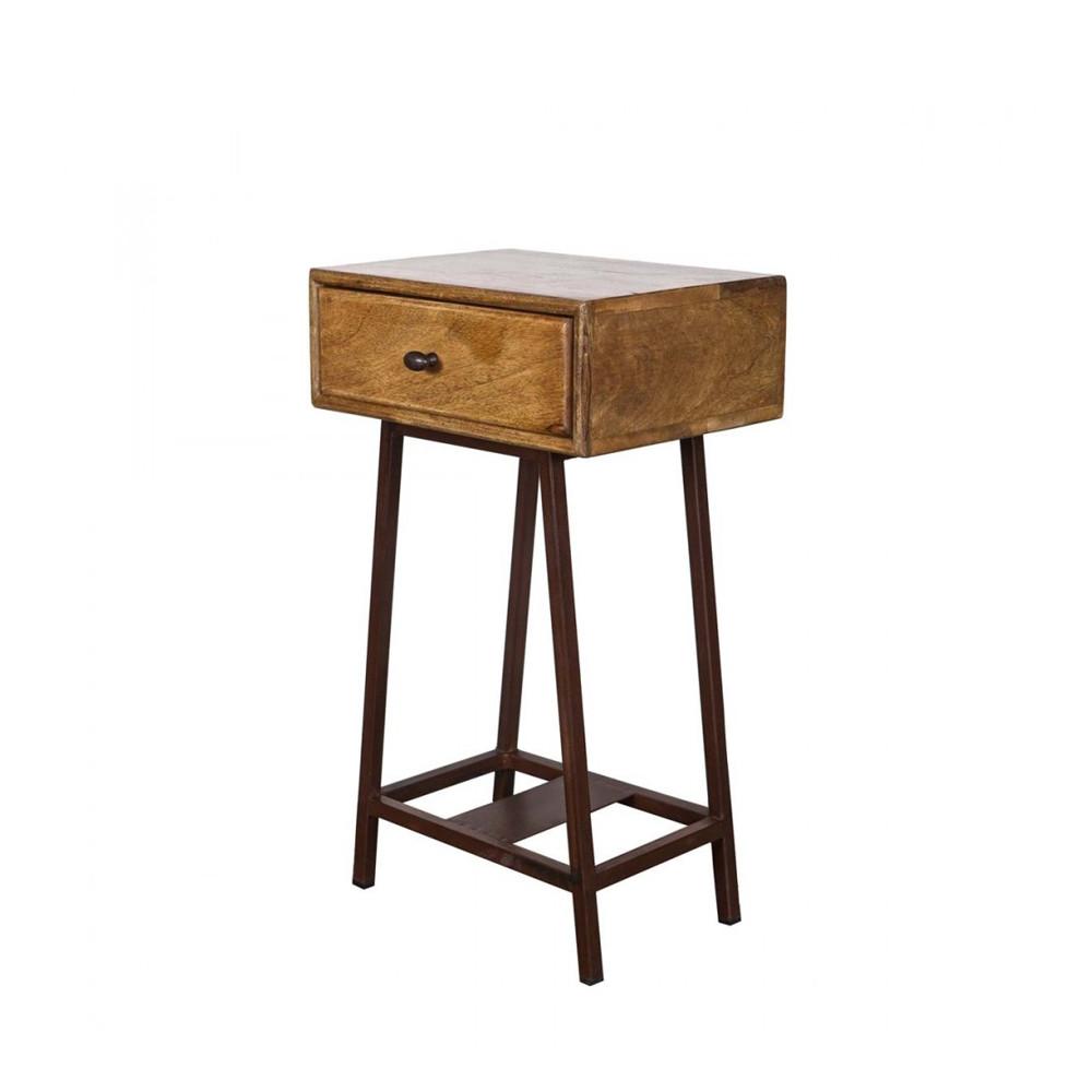 table d appoint bois metal vintage woood frem