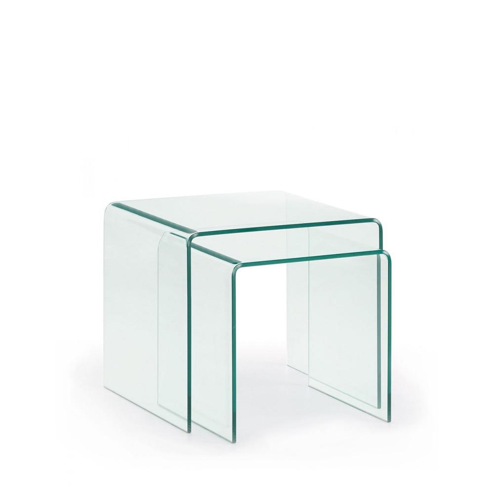 2 tables basses gigognes en verre burano