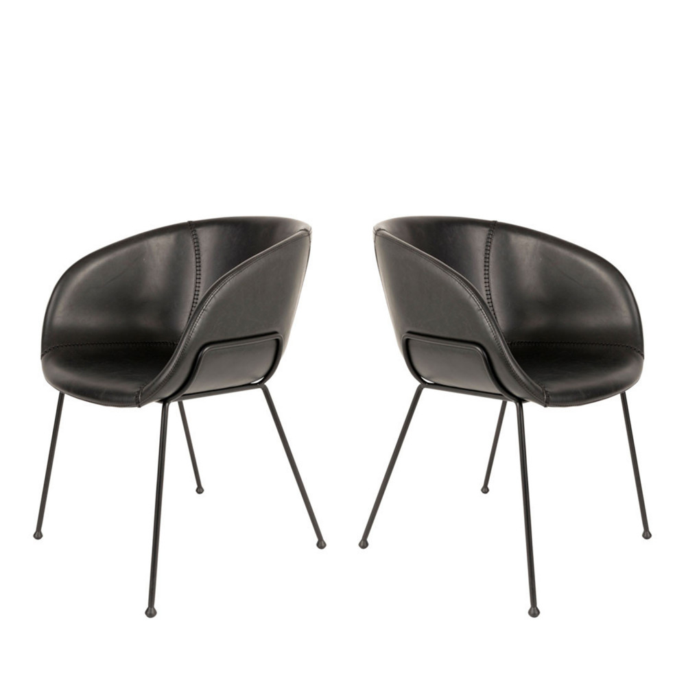 feston 2 fauteuils de table en simili