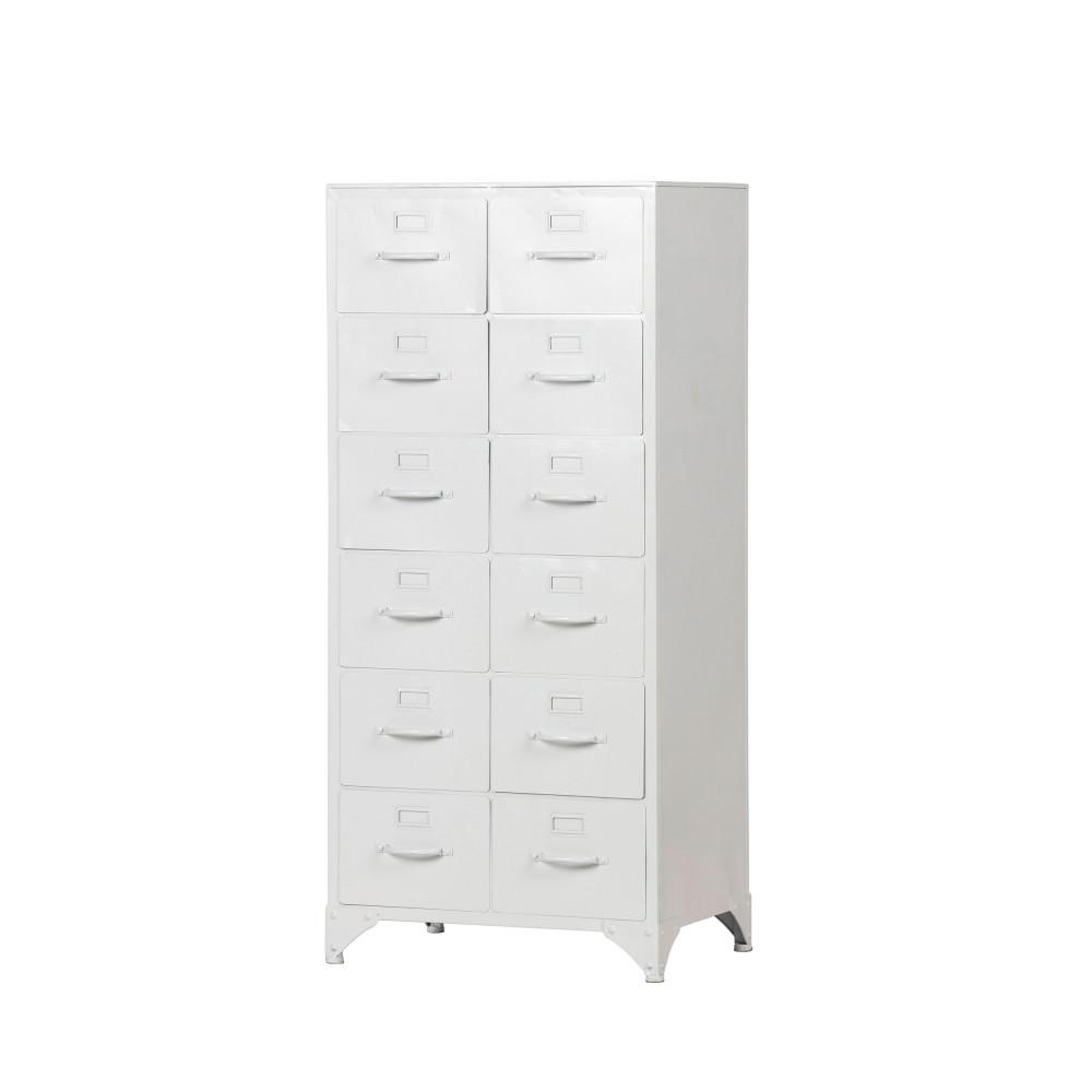 meuble de rangement haut en metal 12 tiroirs woood stock