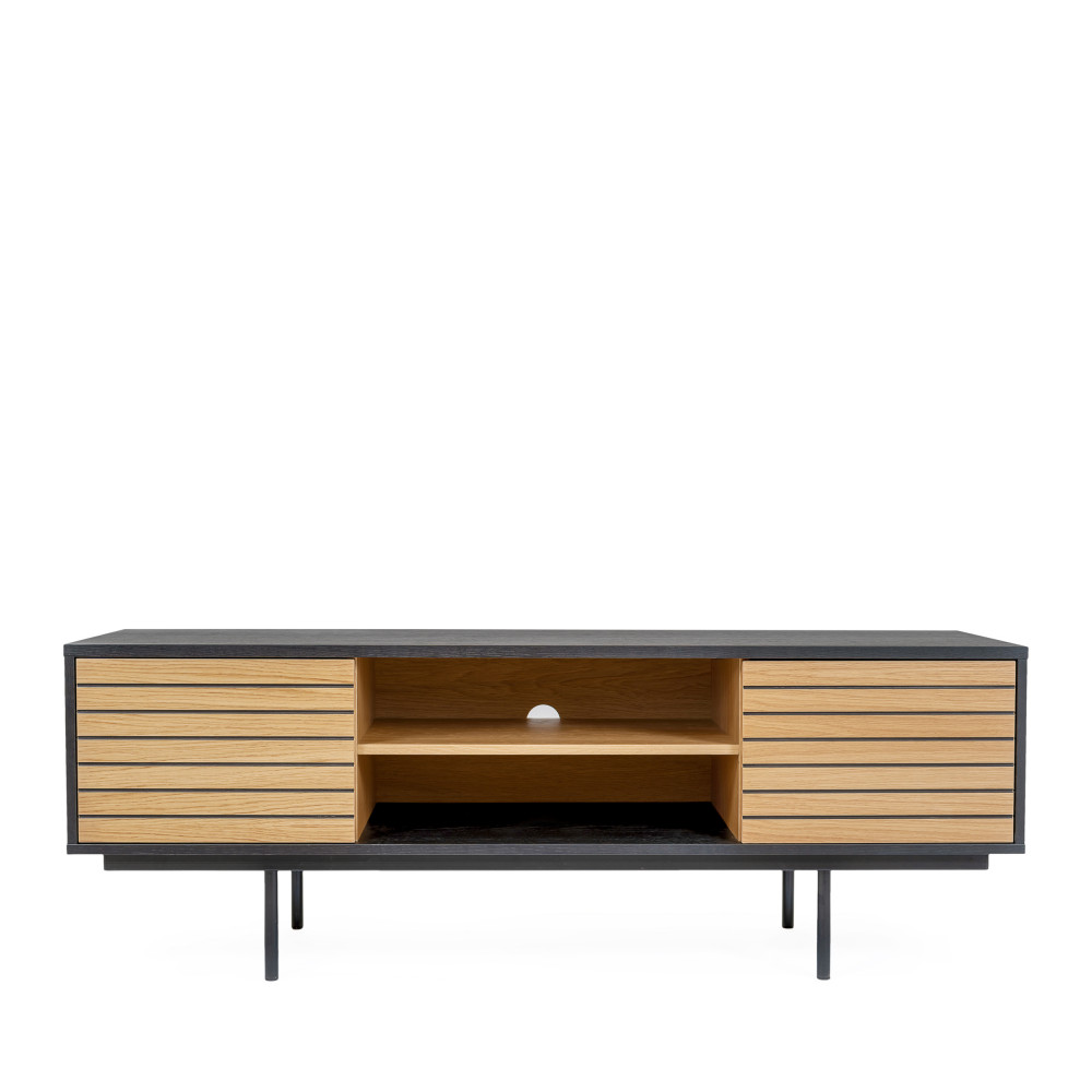 meuble tv design en bois et metal woodman stripe