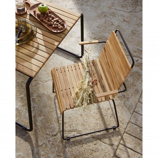 table a manger de jardin en bois et metal 84x70cm kave home gulfin