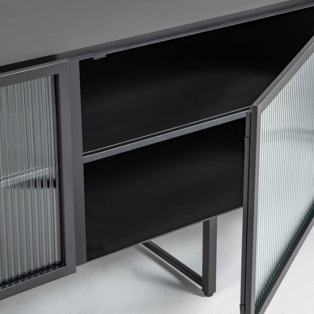 meuble tv 2 portes en metal et verre trempe kave home trixie