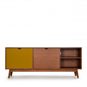 strom meuble tv design 2 portes teinte noyer