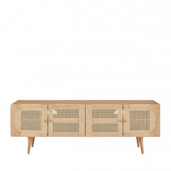 ostnor meuble tv 4 portes en bois et cannage