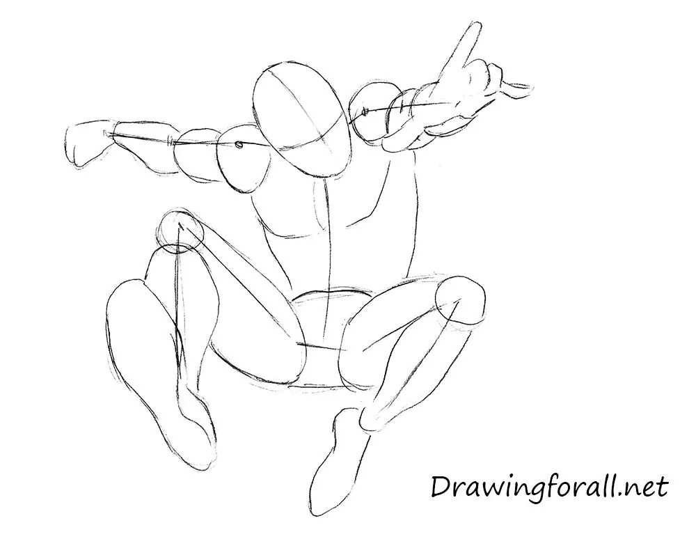 Drawing Man Poses Spider