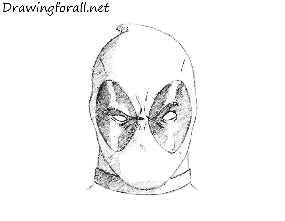 how to draw deadpool head