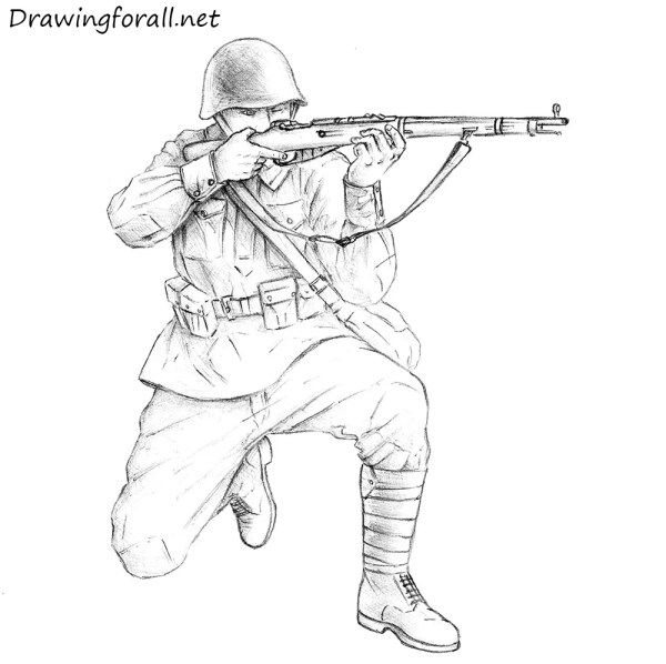How to Draw a Soviet Soldier   Drawingforall.net