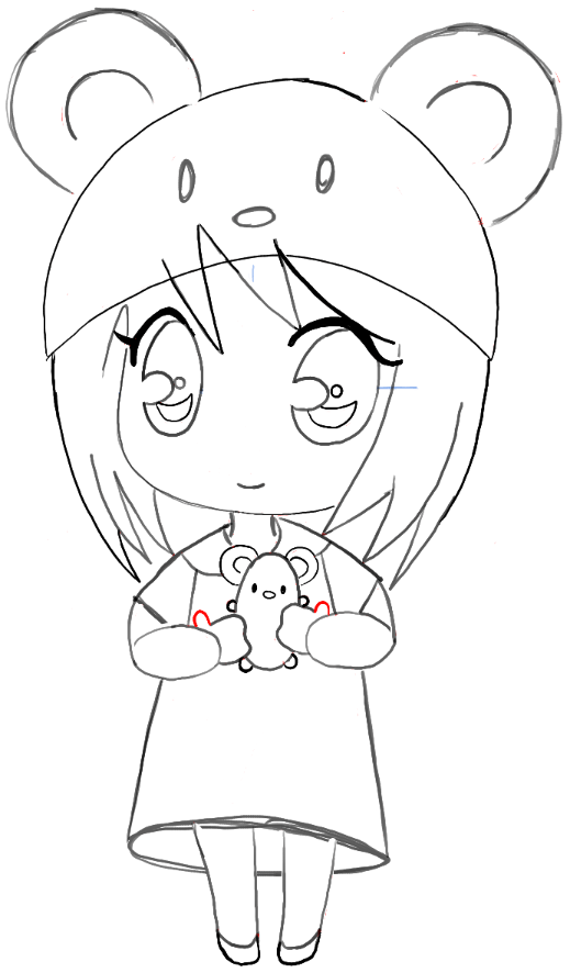 How To Draw A Chibi Girl With Cute Mouse Hat Easy Step By