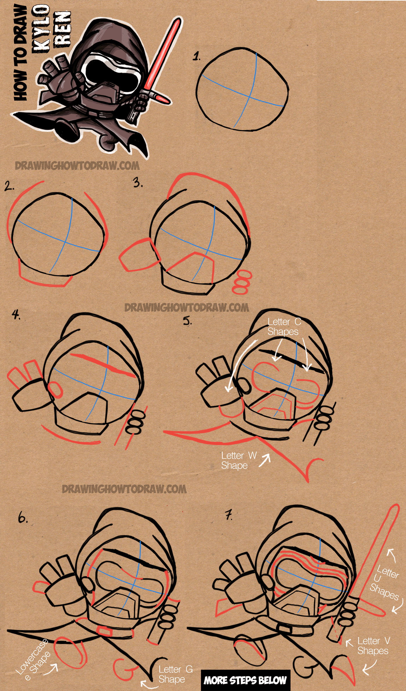 How To Draw Cute Chibi Cartoon Kylo Ren From Star Wars The