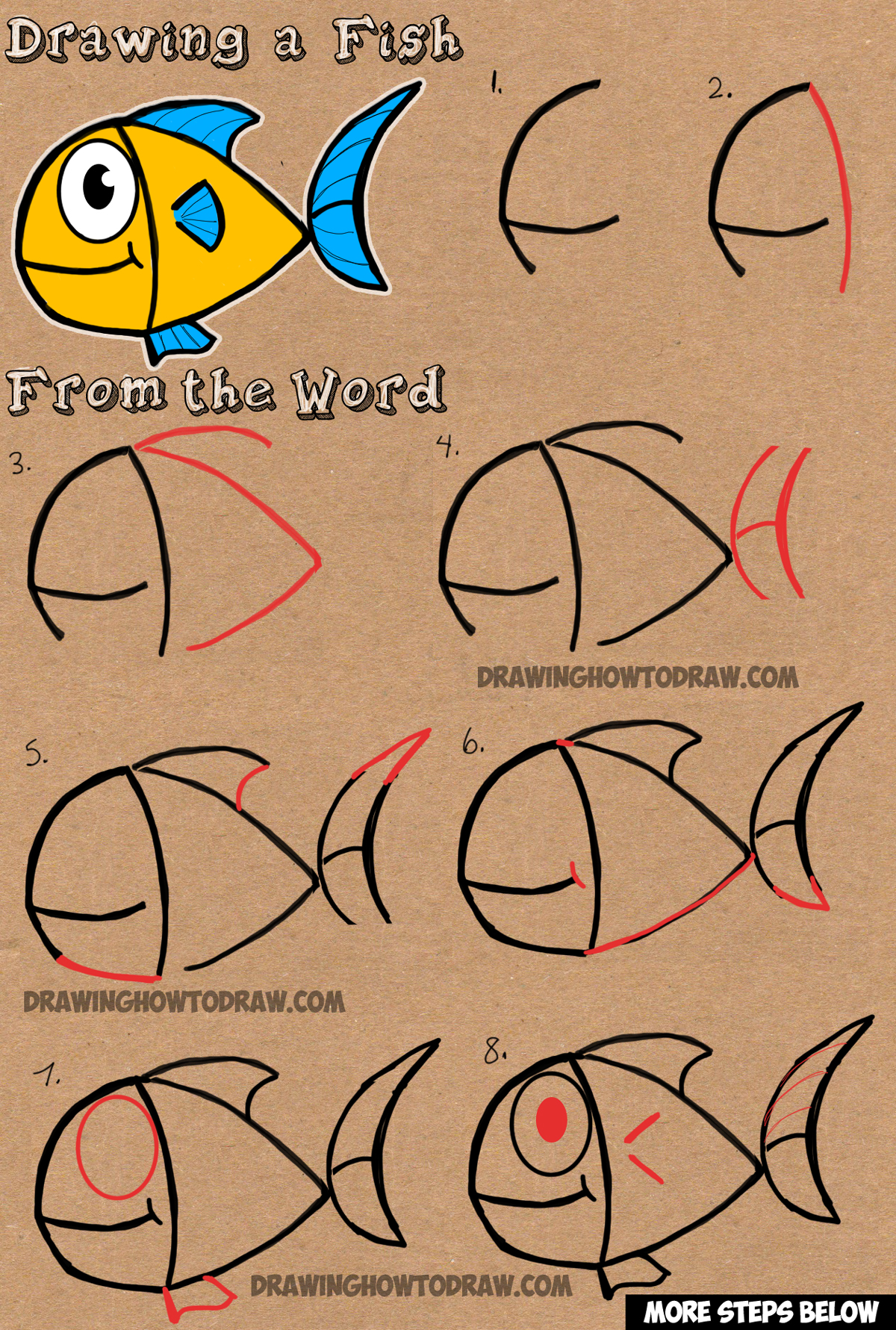 How To Draw A Cartoon Fish From Word Fish Easy Drawing