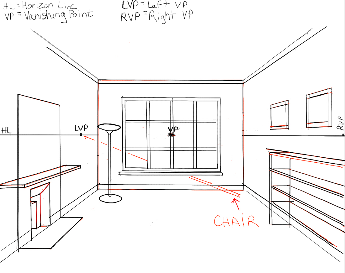 How To Draw The Inside Of A Room With 3 Point Perspective Part 72