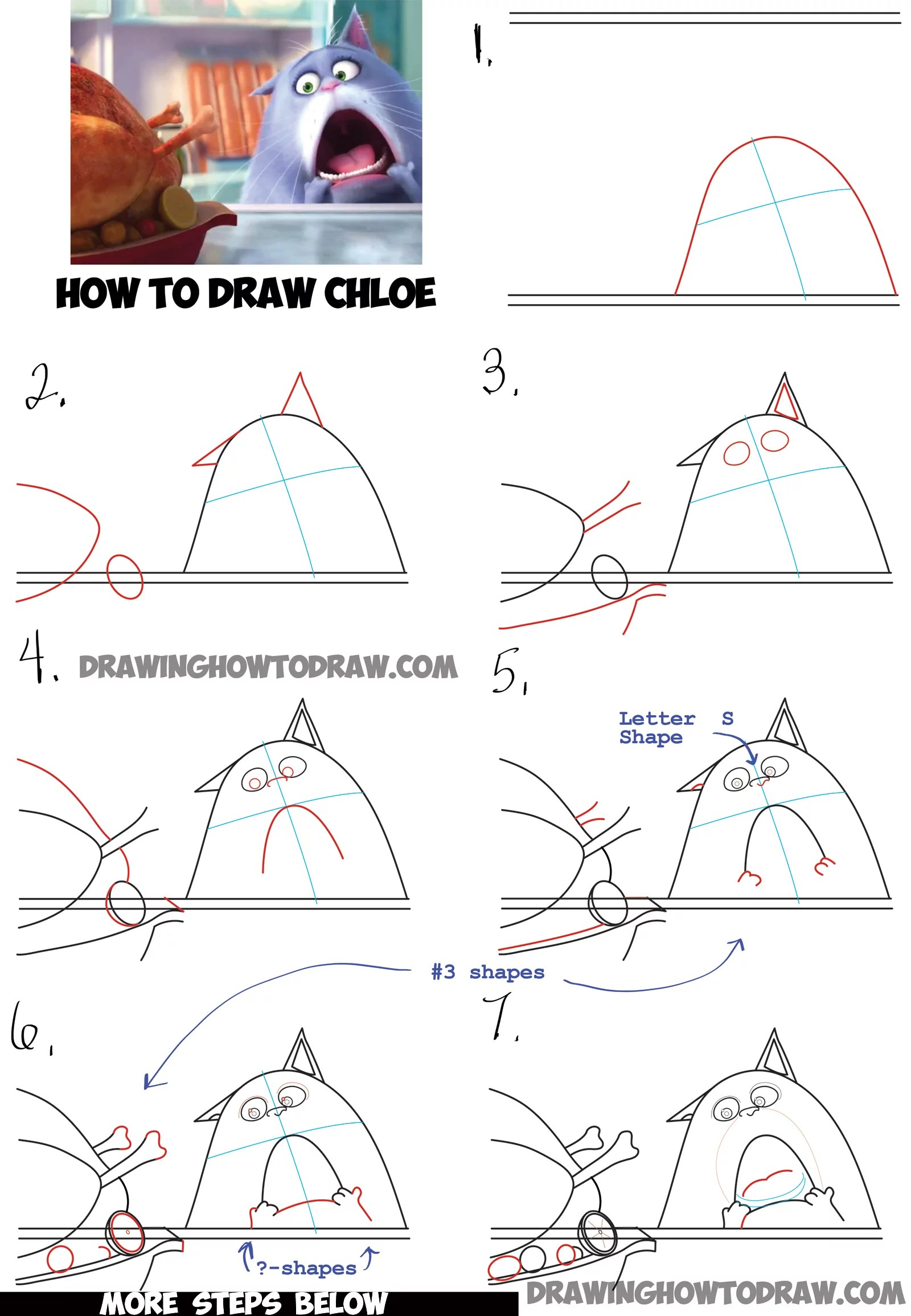 How To Draw Chloe The Cat From The Secret Life Of Pets