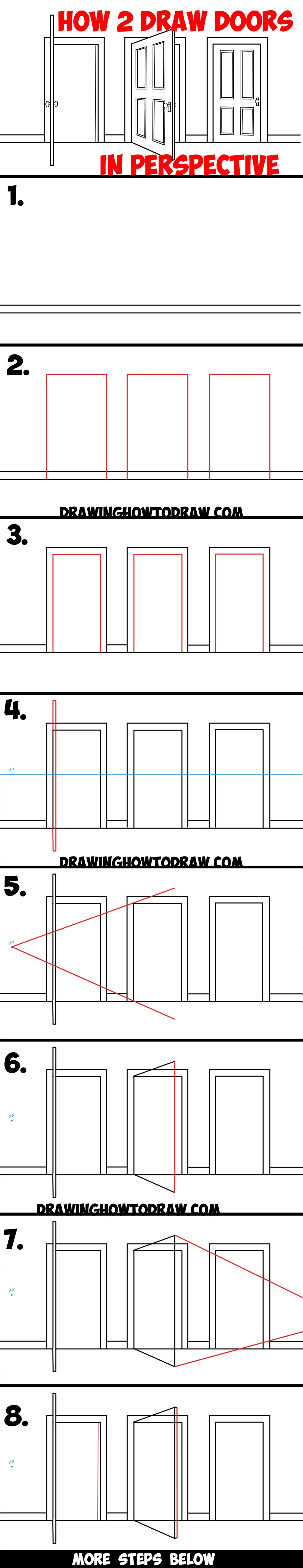 How To Draw Doors Opened Closed In Two Point