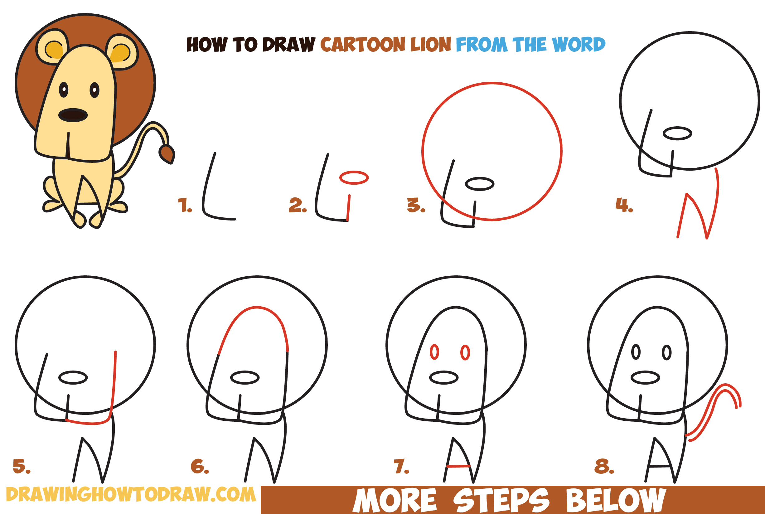 How To Draw Cartoon Lion From The Word Easy Step By Step Drawing Tutorial For Kids Word Cartoon How To Draw Step By Step Drawing Tutorials
