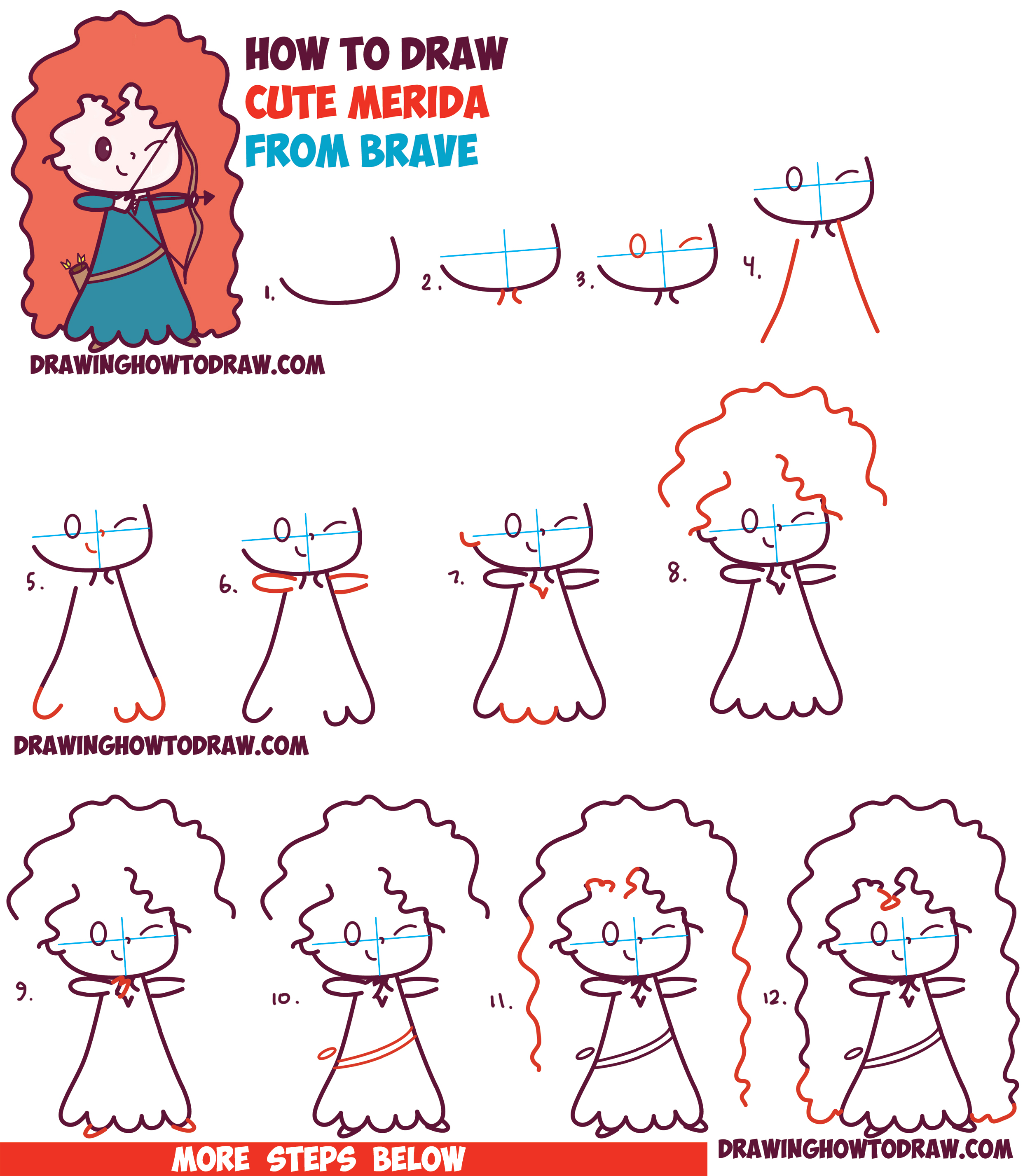 An umbrella is pretty simple to draw, a long as you can see the. How to Draw Cute Kawaii Chibi Merida from Disney Pixar's ...