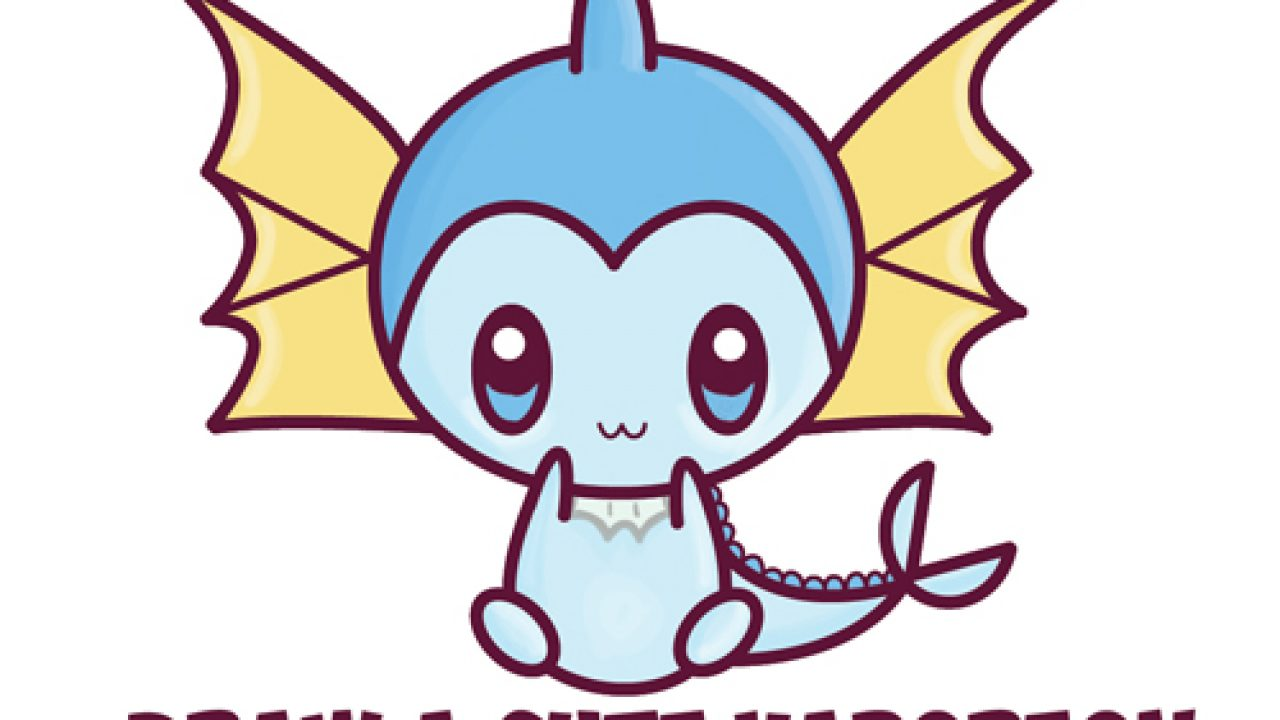 How To Draw Cute Kawaii Chibi Vaporeon From Pokemon Easy Step By Step Drawing Lesson For Beginners How To Draw Step By Step Drawing Tutorials