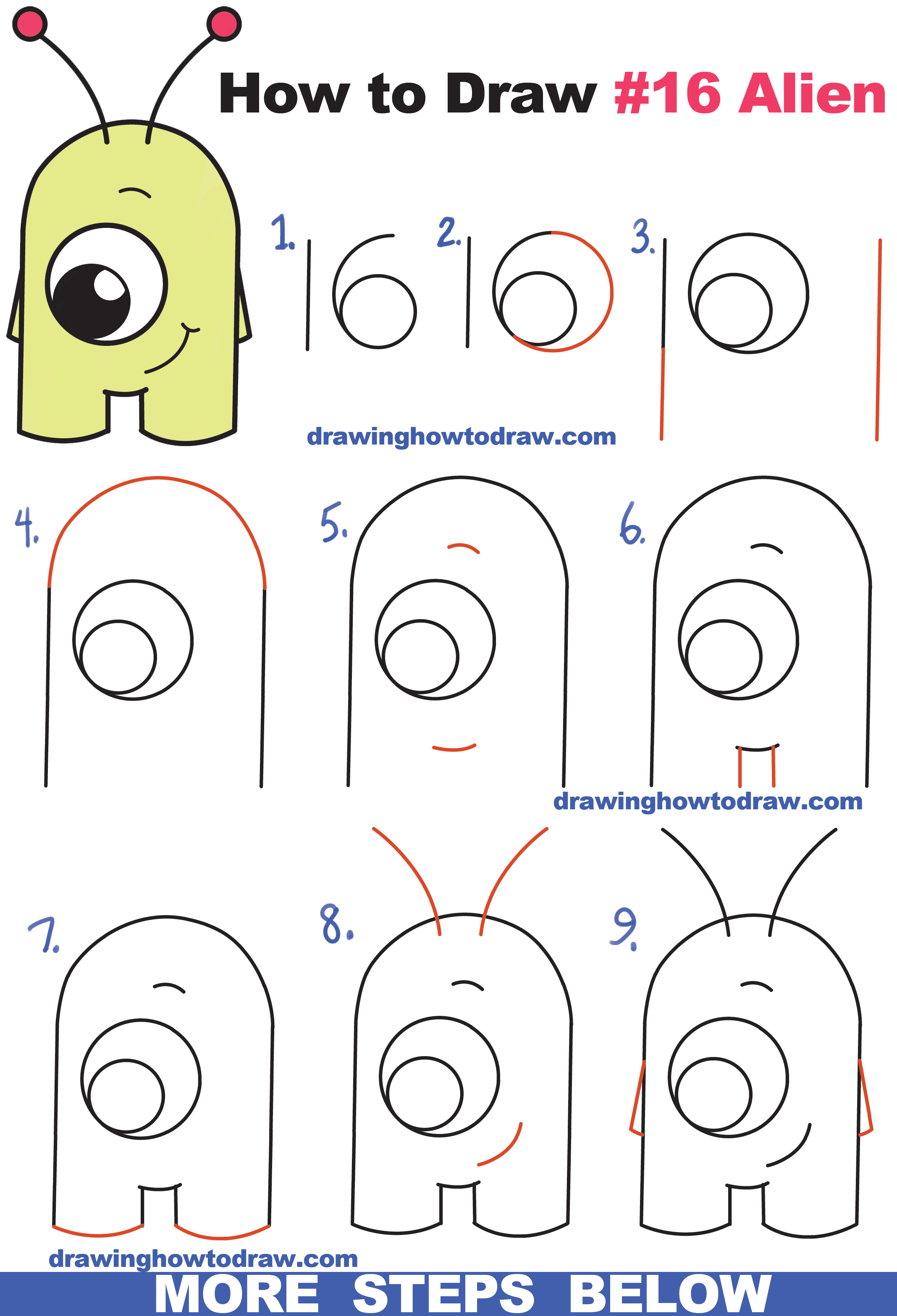 """Top 10 new drawing games for kids to sharpen their wits and motor skills drawing is a fun activity for kids that entertains and educates at the same time. How to Draw Cute Cartoon Alien from Numbers """"16"""" Easy Step ..."""