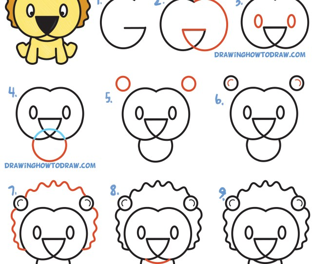 How To Draw A Cute Cartoon Lion From Letters G G Simple Steps Drawing Lesson For Children Beginners