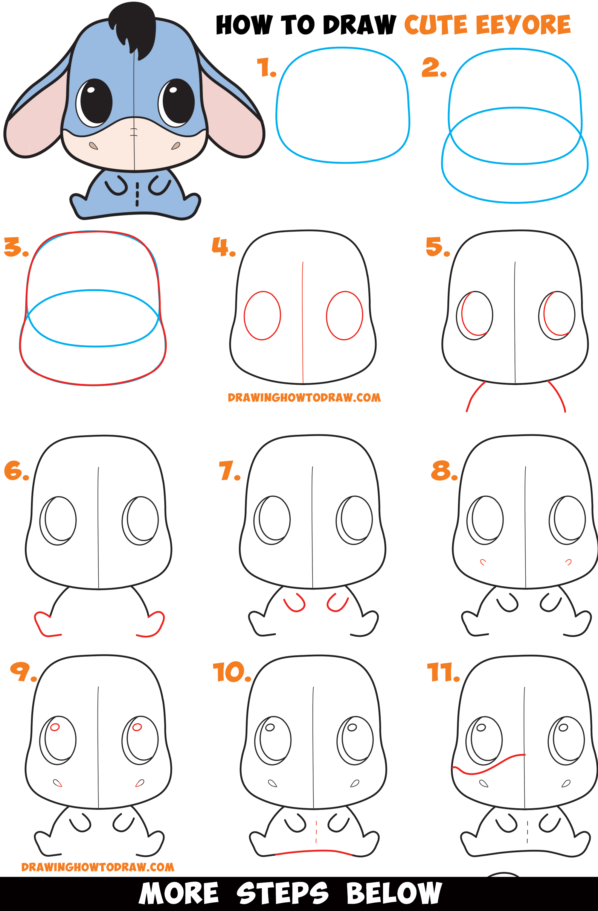Follow along to learn how to draw this cute umbrella easy, step by step. How to Draw a Cute Chibi / Kawaii Eeyore Easy Step by Step ...