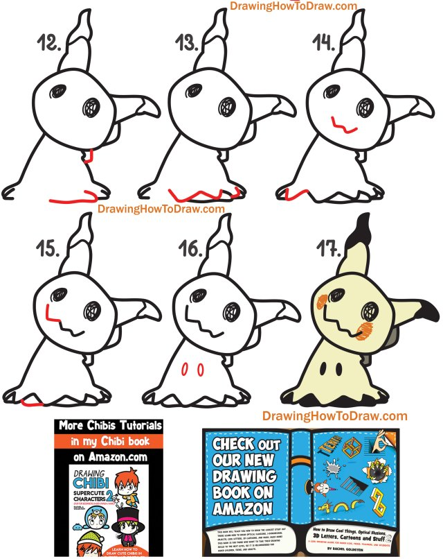 Learn How to Draw Mimikyu from Pokemon Simple Steps Drawing Tutorial for Kids