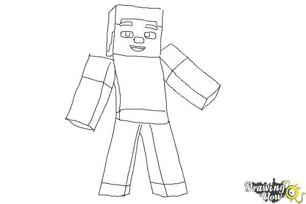 How To Draw Diamond Steve From Minecraft DrawingNow